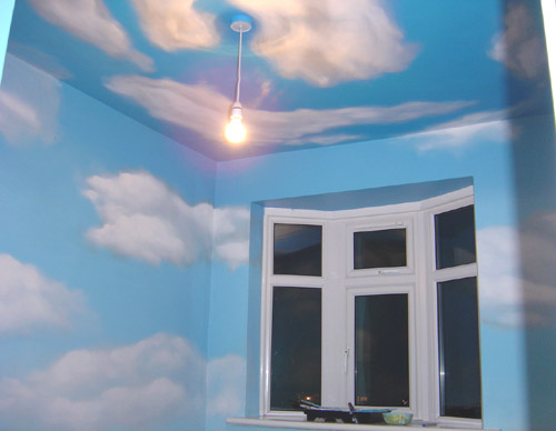 Blue sky ceiling mural as interior design decoration for Ceiling cloud mural