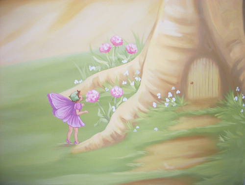 Flower fairies for Fairy garden mural