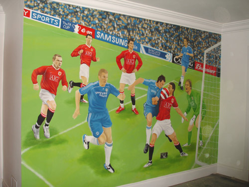 football wall mural. Black Bedroom Furniture Sets. Home Design Ideas